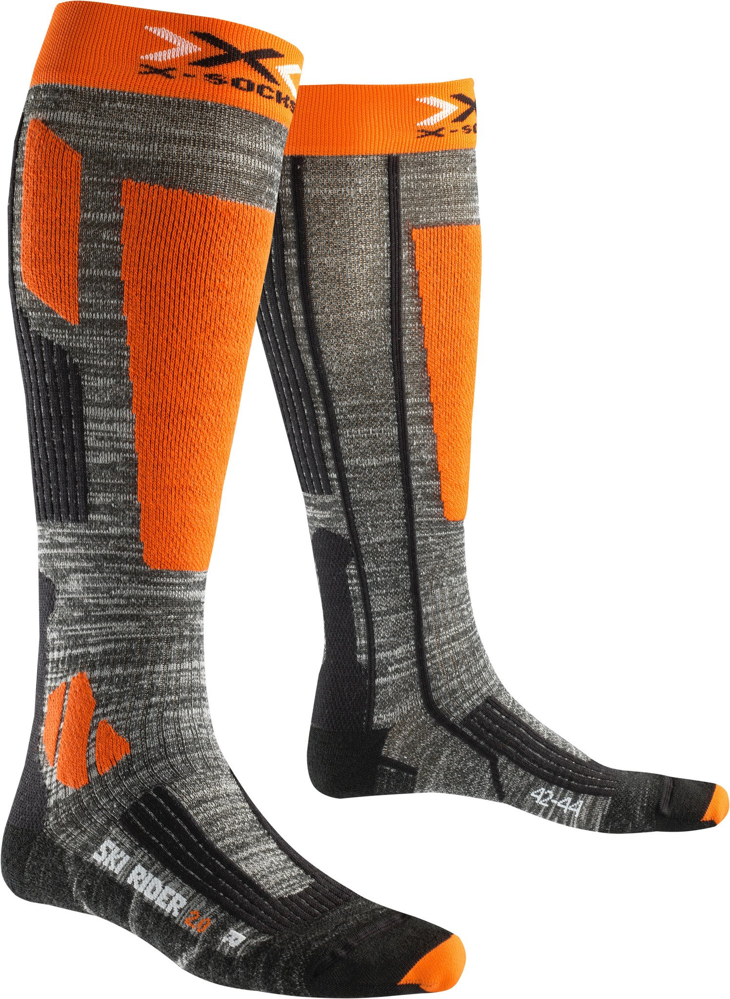 X-Socks Herren Socken SKI RIDER 2.0, Grey Melange/Orange, 45/47, X100092