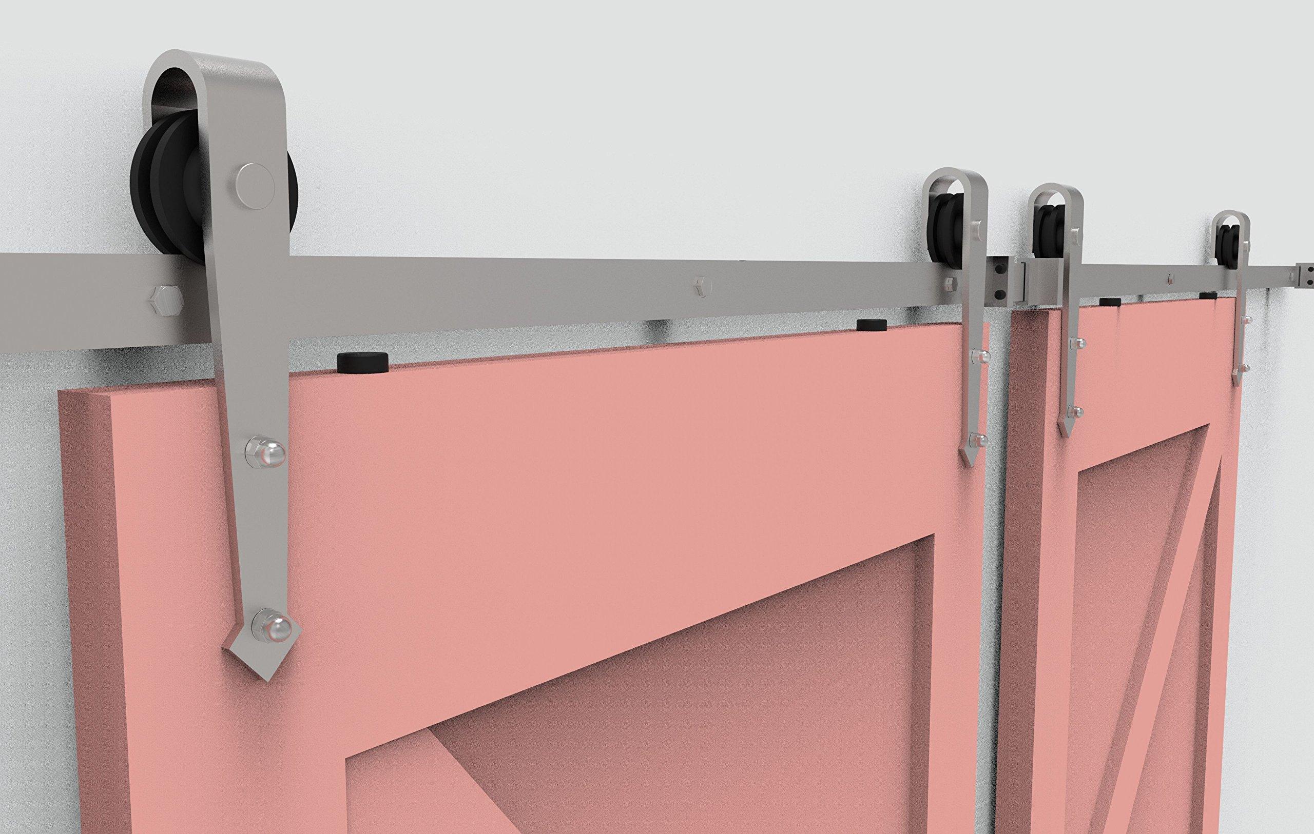 Homacer - Juego de herramientas para puerta corredera de acero inoxidable con rieles de 1,5 m, de acero inoxidable en forma de T, con resistencia industrial, perfecto para garaje, armarios, interiores y