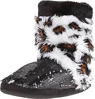 M&F Western Womens Furry Sequin Bootie Slippers