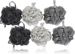 6 KOL Infused Charcoal Bath Poufs, Bath Loofahs, Charcoal Bath Loofah Sponge