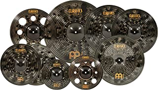 """Meinl Cymbals Cymbal Set Box Pack with 14"""" Hihats, 20"""" Ride, 18"""" China, 16 Crash, Plus a Free 10 12"""" Trash Splash – Classics Custom Dark – Made in Germany, Two-Year Warranty, Expanded (CCD-ES1)"""
