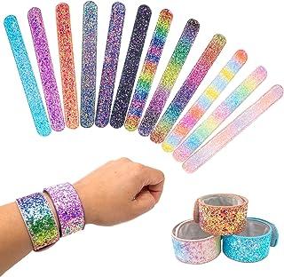 12 Glitter Slap Bracelets for Kids Girls, Safe Suede Backing, Girls Glitter Princess Theme Birthday Party Favors & Supplies, Sparkly Snap Bracelet Set, Easter Basket Stuffers, Goodie Bag Fillers