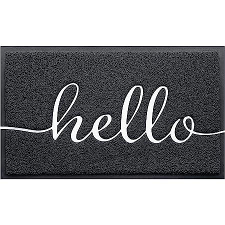 """BeneathYourFeet Door Mat (30""""x17.5"""",Black), Durable Welcome Mat Low Profile Floor Mat Front Doormat Indoor Outdoor Door Rug Non Slip Rugs for Entryway, Patio, High Traffic Areas"""