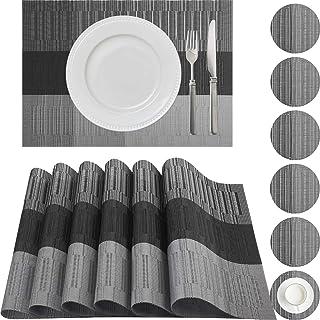 wiipara Lot de 6 sets de table avec dessous de verre compatibles - Isolation fine - Résistants à la chaleur - Lavables - P...