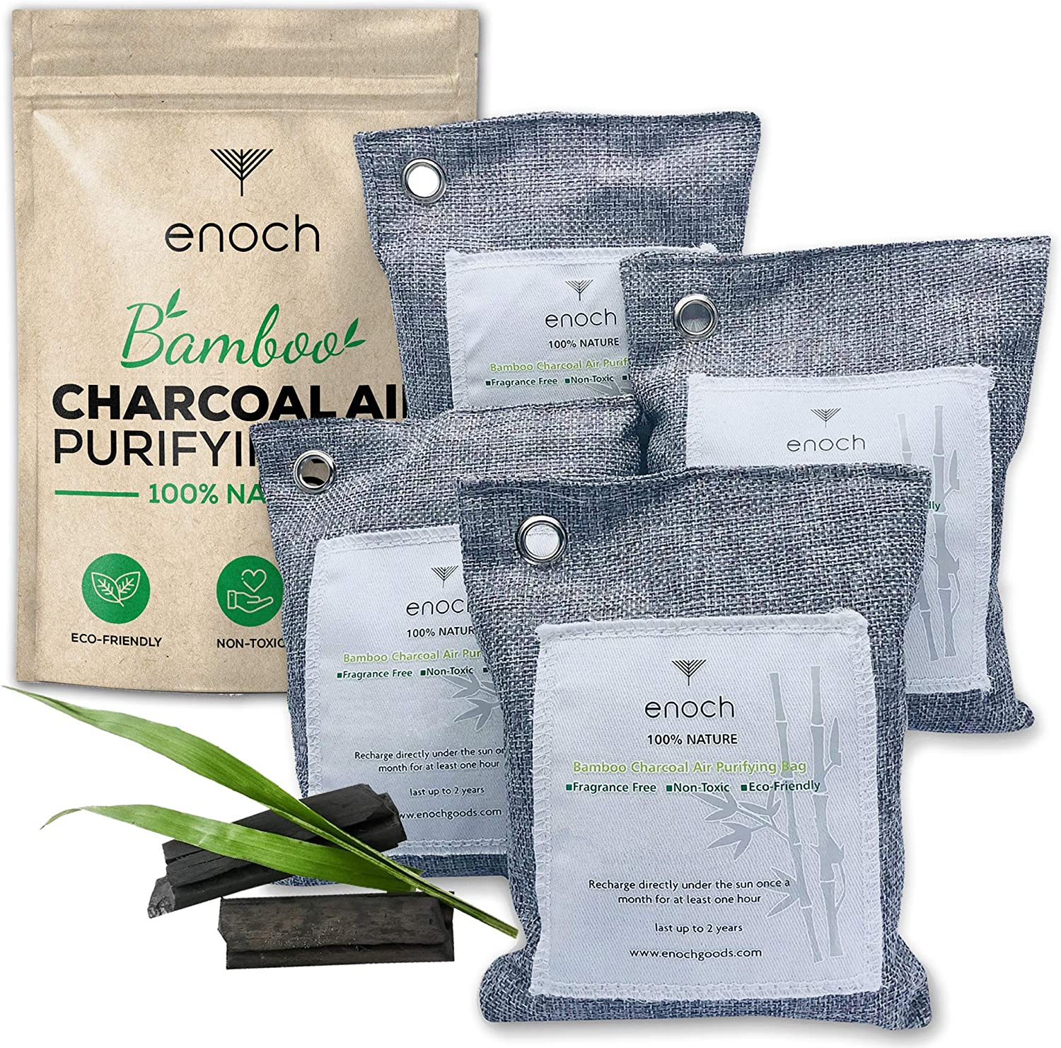 Enoch Bamboo Charcoal Air Purifying Bags Al sold out. 4 Packs Activated Odo Super sale period limited
