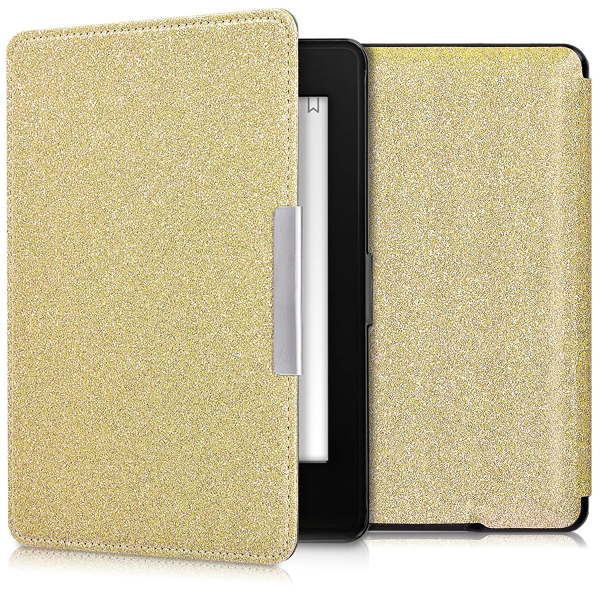 kwmobile Case for Amazon Kindle Paperwhite - Book Style Protective e-Reader Flip Cover Folio Case Shell - (for 2017 and Older) Gold
