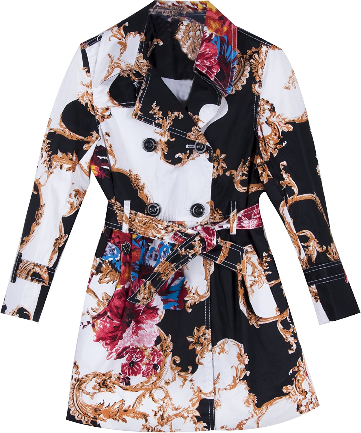 Richie House Big Girls' Patterened Trench Coat Rh0741
