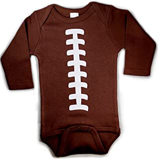 Baby Football One Piece Bodysuit Outfit Brown Unisex Long Sleeve (6-12 Months (Medium))
