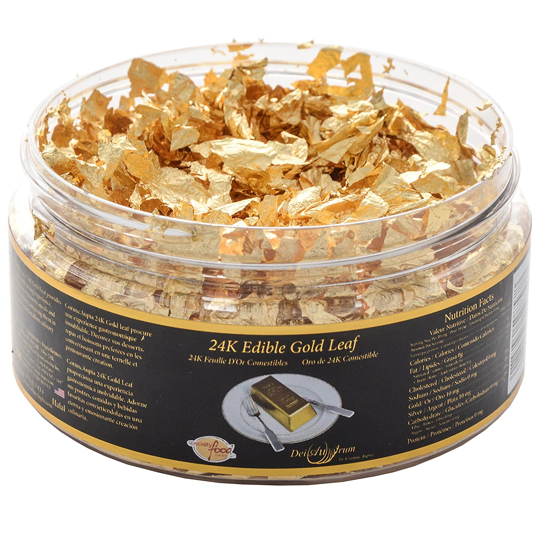 24K Edible Gold Leaf Max Seasonal Wrap Introduction 41% OFF Jar 1g Flakes