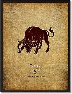 Zodiac Taurus Horoscope Astrology Canvas Print Home Decor Wall Art Decoration Gift Ideas, Black Frame, 13
