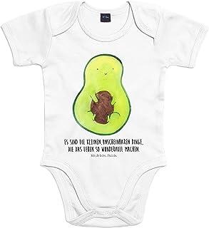 Mr. & Mrs. Panda Mr. & Mrs. Panda Strampler, Babysuit, Baby Body Avocado mit Kern mit Spruch - Farbe Transparent