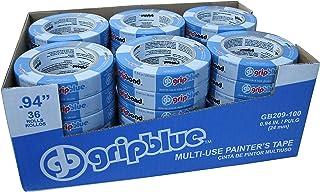 GRIPBLUE 1 Inch (24 mm) Multi-Use Blue Painters Tape, 36 Rolls Value Pack, Premium Crepe Paper Masking Tape for Multi-Surf...