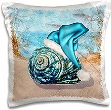3dRose pc_203017_1 Coastal Beach Christmas Seashell Blue Santa Hat Pillow Case, 16 x 16