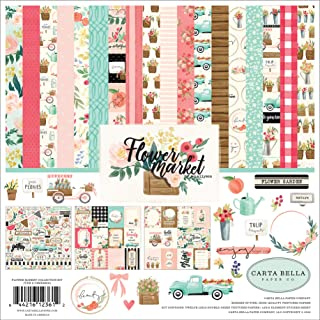 Carta Bella Paper Company CBMK96016A Flower Market Collection Kit Paper, Teal, Pink, Cream, Woodgrain