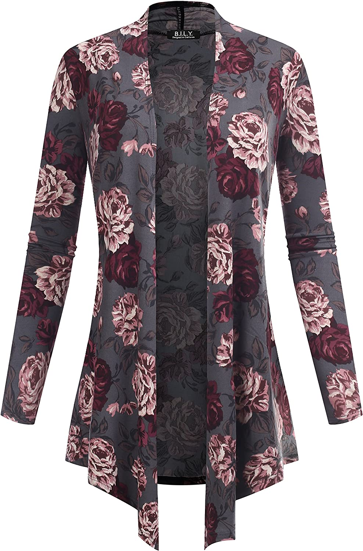 B.I.L.Y BILY Women's Open Front Drape Hem Lightweight Cardigan Floral Print 601039 Charcoal Medium