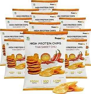 Supplify Protein Chips Thai Sweet Chili, Vegan - Eiweiß Snack zum Abnehmen oder Muskelaufbau - die leckere Alternative zu Protein-Pulver oder -Riegel 12x50g