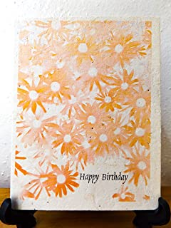 Hand Drawn Happy Birthday Card | Plantable Wildflower Seed Paper | 6 Handmade Cards With Envelopes | Special Gift