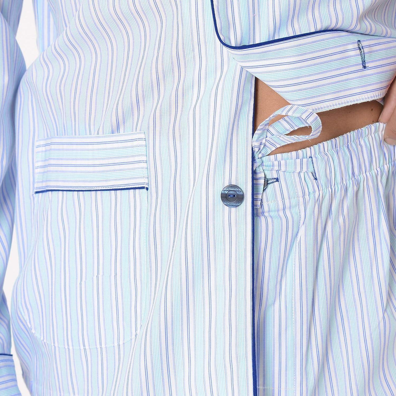 El B/úho Nocturno Ensemble de Pyjama Hommes Classique /à Manches Longues Classique Popeline Cotton Mid-Temps pour Homme