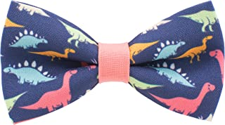 Bow Tie House Dinosaurs bow tie pre-tied pattern blue-peach colors unisex shape