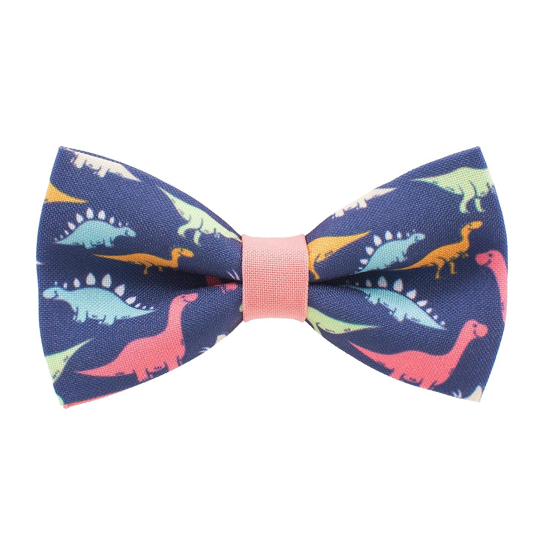 蝶ネクタイ蝶ネクタイ恐竜家pre-tiedパターンblue-peach色ユニセックス形状