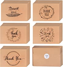 40 Kraft Rustic and Vintage Thank You Cards   Bulk Box Set w/Envelopes & Stickers   Large Brown 4 x 6