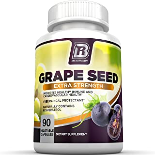 BRI Nutrition Grapeseed Extract - 95% Proanthocyanidins 400mg Servings - Strongest Standardized Extract On The Market - 90 Vegetable Cellulose Capsules
