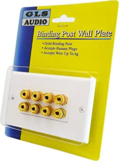 GLS Audio 8 Post Binding Banana Plug Wall Plate White (8 Posts for 4 Speakers)