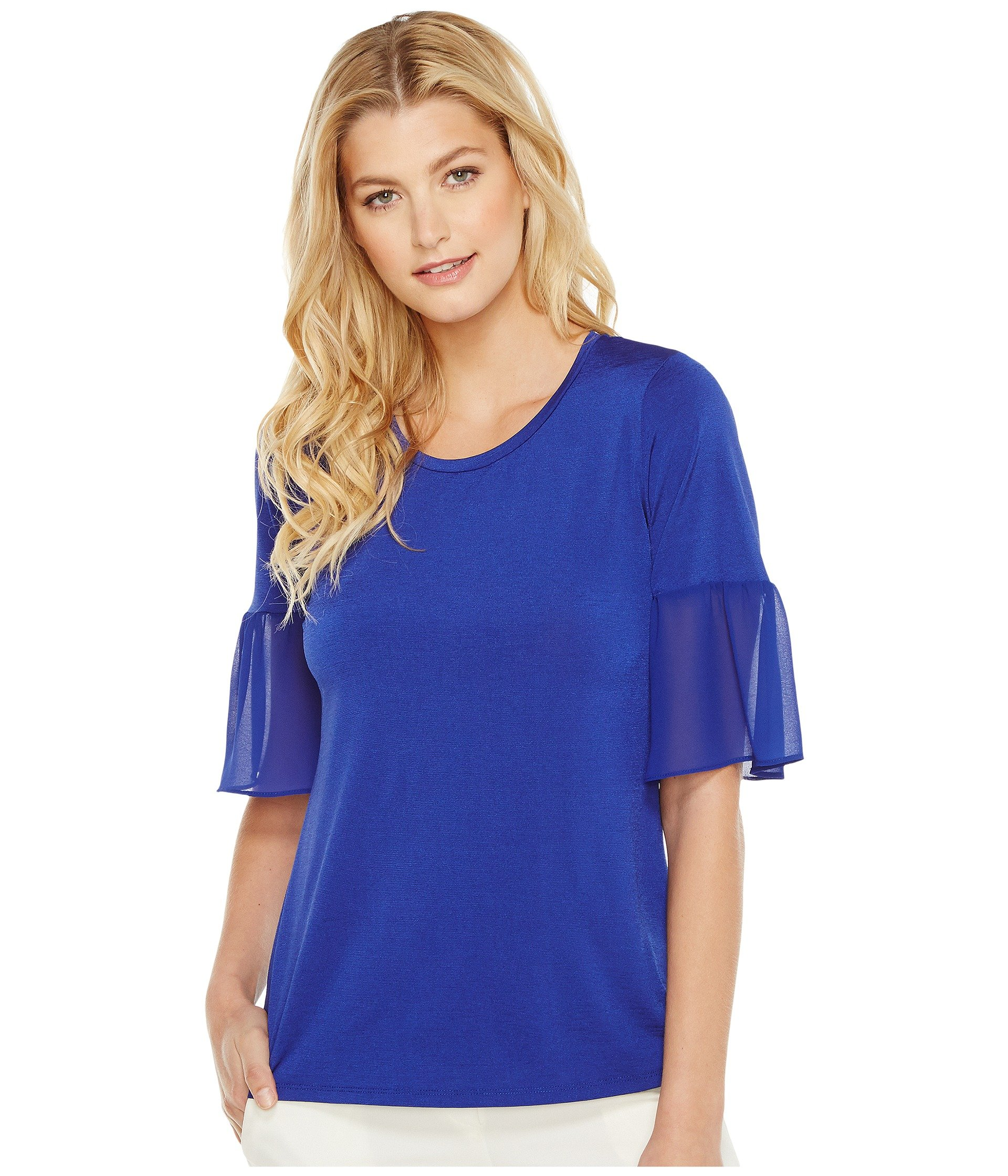 ELLEN TRACY Mixed Media Flounce Sleeve Top, Azure