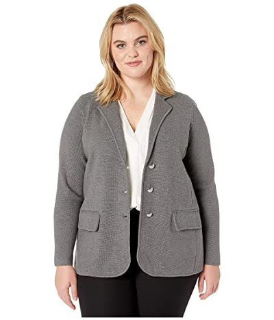 LAUREN Ralph Lauren Plus Size Sweater Knit Blazer (Lexington Grey Heather) Women