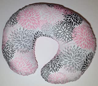 Minky Nursing Pillow Cover. Blush Premier Blooms. You choose the Dimple Dot Back. Back is pictured with Blush and Silver Dimple Dot.