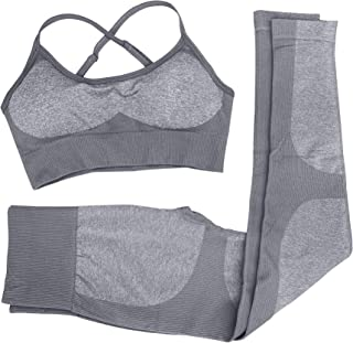 Women 2 Piece Outfits Leggings+Sports Bra Yoga Set Compression Skinny Tights Gym Fitness bbmee Pants Exercise Outfits