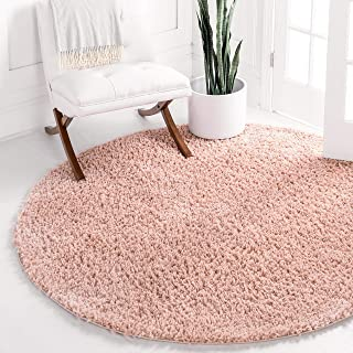 Unique Loom Davos Shag Collection Contemporary Soft Cozy Solid Shag Dusty Rose Round Rug (3' 3 x 3' 3)