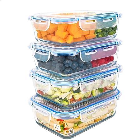 LG Luxury & Grace Lot de 4 Boîtes Alimentaires en Verre 1000 ML. Récipient Hermétique. Boîtes de Conservation pour Micro-Ondes, Four, Lave-Vaisselle et Congélateur. sans BPA.