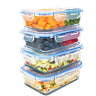 LG Luxury & Grace Lot de 4 Boîtes Alimentaires en Verre 1000 ML. Récipient Hermétique. Boîtes de Conservation pour Micro-O...