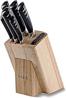 Ausker - Set de 6 Couteaux en Acier Inoxydable avec Bloc en Bois et aiguiseur intégré