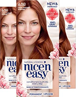 Clairol Nice 'n Easy Permanent Hair Color, 6.5R Natural Light Radiant Auburn, 3 Count, Reds (Packaging May Vary)