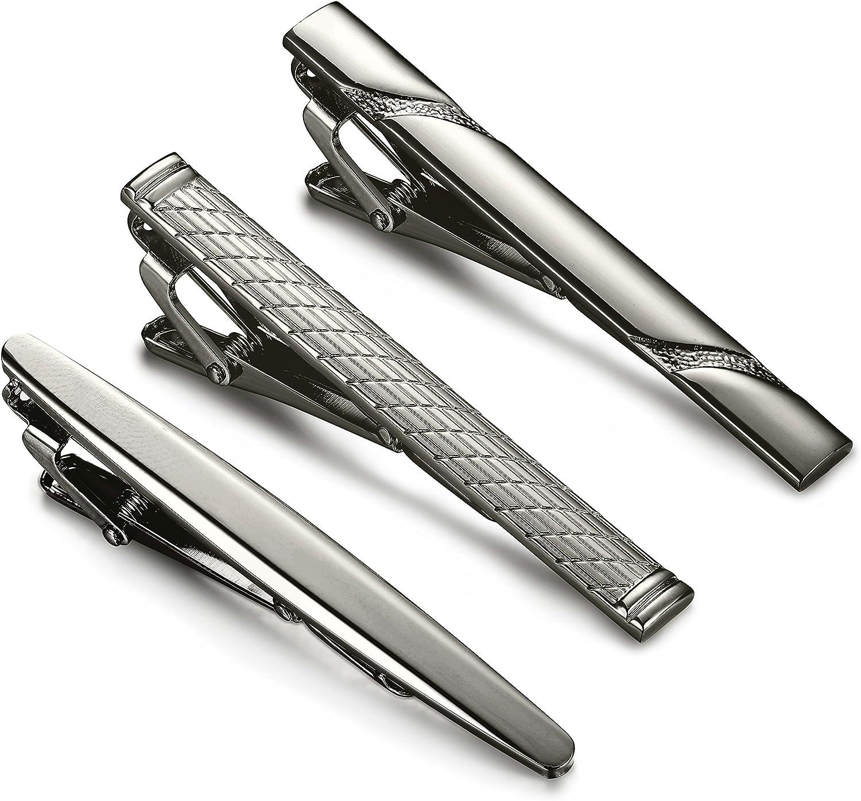 Jstyle 3 Pcs Tie Clips for Men Tie Bar Clip Set for Regular Ties Necktie Wedding Business