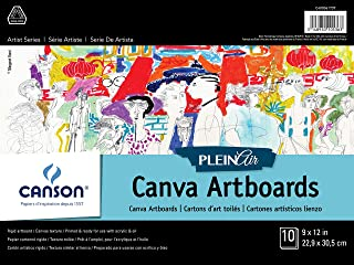 """CANSON Plein Air Canva Rigid Art Paints or Sticks, Oil and Acrylic, 9 x 12 Inch, Set of 10 Boards, 9"""" x 12"""", 0"""