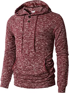 Mens Casual Pullover Hoodie Henley Long Sleeve Lightweight Sweatshirts