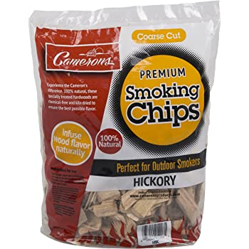 Smoking Chips - (Hickory) - 260 cu. in. (0.004m³) - Kiln Dried, Natural Coarse Wood Smoker Chunks - 2 Pound Bag Barbecue Chips