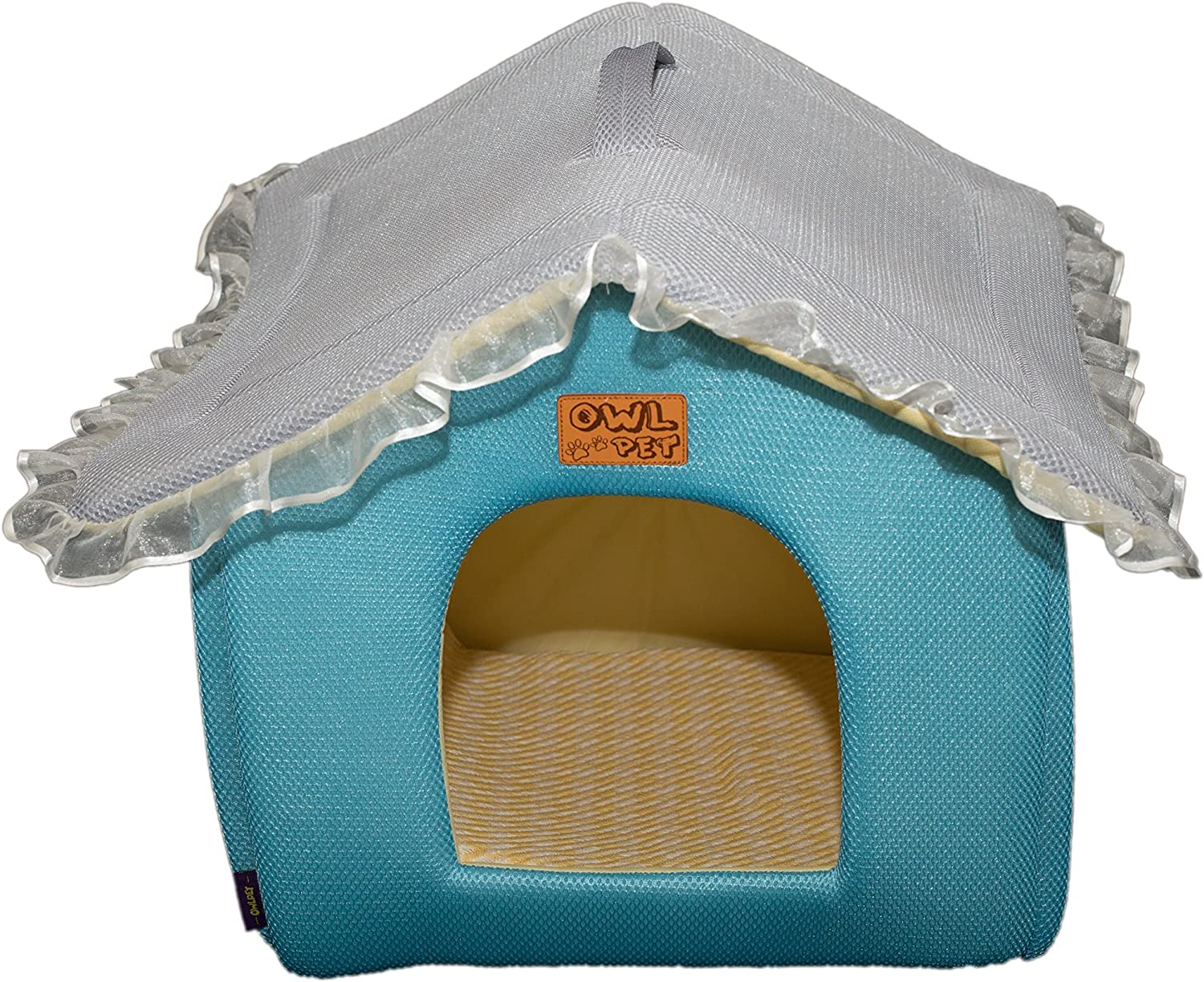Owl pet soft cute house shaped princess cats dogs pet bed with lace roof and removable washable mattress, small to large, three colors combinations (pink bluee grey). (M, bluee and grey)