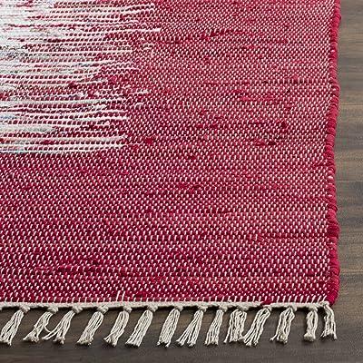 Tapis rectangulaire d'intérieur moderne tissé plat, collection Montauk, MTK711, en ivoire / rouge, 91 X 152 cm pour le salon, la chambre ou tout autre espace intérieur par SAFAVIEH.