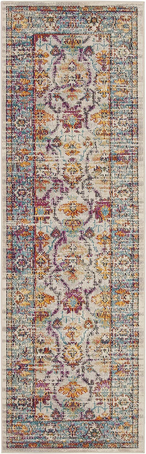 Safavieh Crystal Collection CRS518G Cream and Teal Distressed Runner (2'2  x 7')