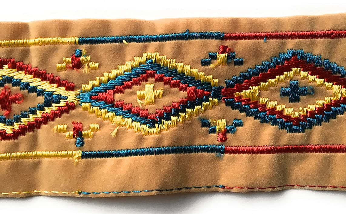 Multi Color Embroidery Velvet Trim Beige Velvet Trim 2