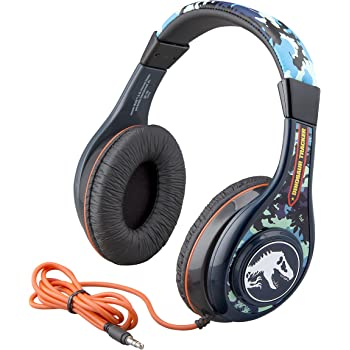 Jurassic World 2 Kids Headphones, Adjustable Headband, Stereo Sound, 3.5Mm Jack, Wired Headphones for Kids, Tangle-Free, Volume Control, Childrens Headphones Over Ear for School Home, Travel