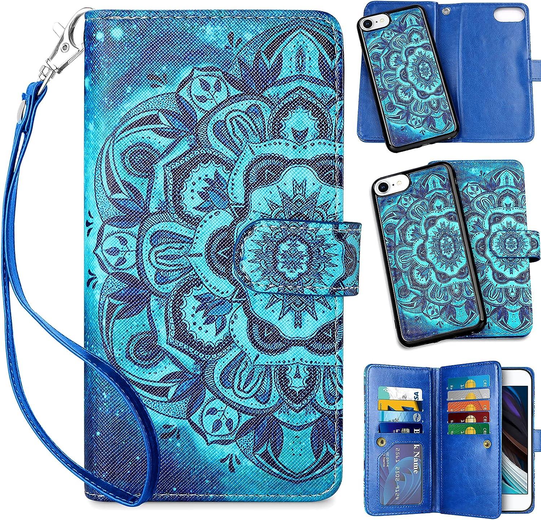 Vofolen for iPhone 7 case iPhone 8 Cover 2-in-1 Wallet Card Holder Slot Detachable Strap Protective Slim Hard Shell Magnetic PU Leather Folio Pocket Flip for iPhone 7 8 SE2 Mandala Blue