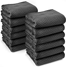 """Sure-Max 12 Heavy-Duty Moving & Packing Blankets - Ultra Thick Pro - 80"""" x 72"""" (65 lb/dz weight) - Professional Quilted Shipping Furniture Pads Black"""