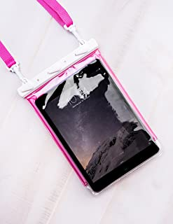 Tech Candy Dry Spell Water Defender Bag for Apple iPad E-Readers eReaders Nook Kindle Android Tablets FLOATS Pretty Ribbon Lanyard Protection Text Through Window Waterproof Snowproof Dustproof Univers