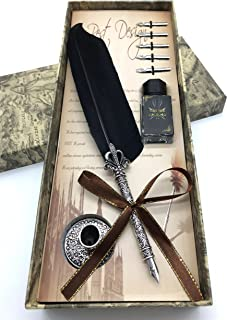 W.D Calligraphy Pen Set,Writting Quill Feather Pen,100% Hand Craft, Real Feather and Stainless Steel Nib (Black)