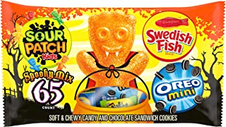 Sour Patch Kids Candy, OREO Mini Chocolate Sandwich Cookies and SWEDISH FISH Candy Halloween Candy Variety Pack, 1 - 65 Tr...
